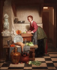 a woman preparing vegetables by charles joseph grips