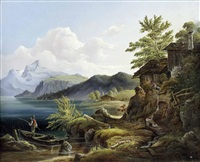 hochgebirgslandschaft mit see, fischer und häusern by carl haunold
