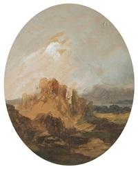 paisaje romántico con castillo en ruinas y cielo tormentoso by eugenio lucas velázquez