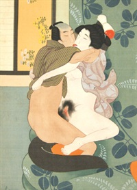 shunga painting (+ 11 others; album of 12) by japanese school (20)