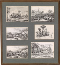 landschafts (6 works in 1 frame) by jean-jacques de boissieu