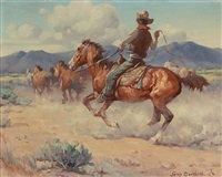 herding horses on the range by gray phineas bartlett