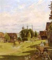 entrée du village de villebelzi by adolphe frédéric lejeune