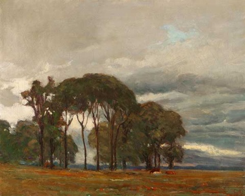 cloudy day cattle in eucalyptus landscape by wilbur l oakes