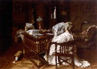 a woman reading in an interior by maurice joron