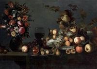 nature morte au bouquet de fleurs et coupe de fruits sur un entablement by michiel simons