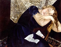 self portrait with letter by lydia dmitrievsky