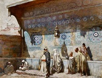 at a fountain in meknes, morocco by adolphe ernest gumery
