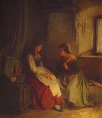 bauernmädchen einen brief lesend by ludwig vollmar