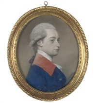 portrait of a gentleman turned to dexter in a blue coat with a red collar by lewis (of bath) vaslet