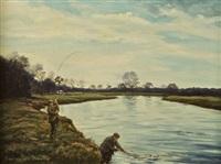 looking towards the weir, careysville, river blackwater (+ landing a fish, careysville, river blackwater; pair) by william ellis barrington-browne