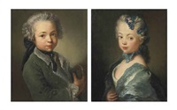 portrait of the artist's grandson, bust-length, in a fur-lined green coat, holding a tricorne (+ portrait of the artist's granddaughter, bust-length, in a white dress with a blue mantle, a blue ribbon and a flowered headdress; pair) by antoine pesne