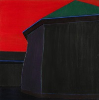 building with blue trim against red sky by harold joe waldrum