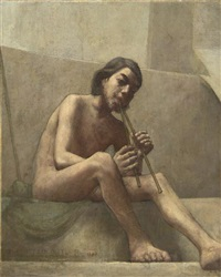 seated youth, playing aulos by theodore earl butler