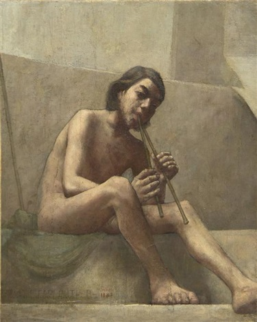 seated youth playing aulos by theodore earl butler