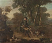 a sportsman with his dogs in a wooded landscape by john wootton
