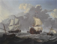dutch threemasters and other shipping in choppy waters by wigerus vitringa