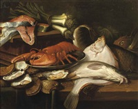 a pike, a plaice, a lobster on a tin plate, oysters, leek and salmon, all on a wooden table by frans snijders