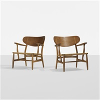 lounge chairs model ch 22, pair by hans j. wegner