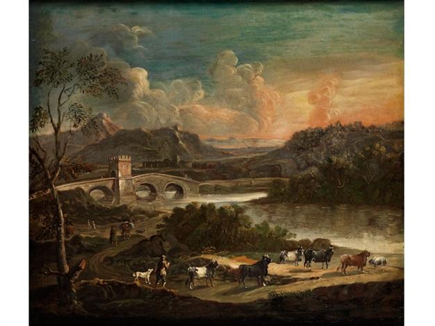 italienische ideallandschaft mit bogenbrücke über einem flusslauf sowie zum ufer ziehender rinderherde by philipp peter roos