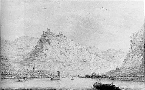a view of kamp bornhofen burg sterrenburg and burg liebenstein on the rhine by hendrick de leth