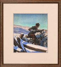 man on an early motorcycle by paul rabut