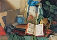 atelier-stillleben mit krügen und büchern by pierre jaques