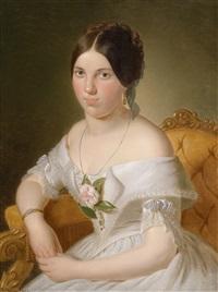 bildnis einer sitzenden dame in weißem kleid und rose am dekolleté by joseph weidner
