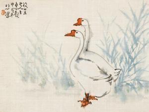 双鹅 (a pair of geese) by xu beihong