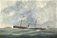 the french steamer lucile off le havre by victor charles edouard adam