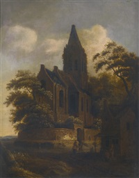 travellers on a road, resting beside a walled church by roelof van vries