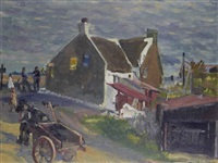 old houses, loughshinny towards evening by maurice macgonigal