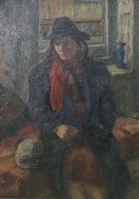 girl with red scarf by samuel brecher