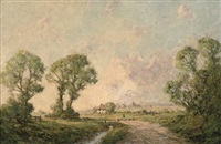 a drover and his flock on a country road by harold goldthwaite
