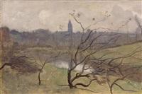 saint-lô, vue d'ensemble à travers des branchages by jean-baptiste-camille corot
