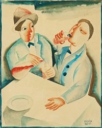 two drinkers by béla kádár