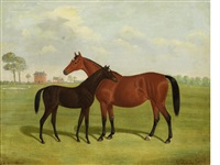 laundry maid and foal in a landscape by thomas roebuck