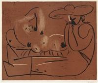 femme couchée et homme au grand chapeau by pablo picasso