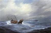 zwei dampfer bei schwerem wetter im atlantik by gerhard (von bruch) west