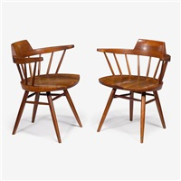 pair of cherry arm chairs, 1957 by george nakashima