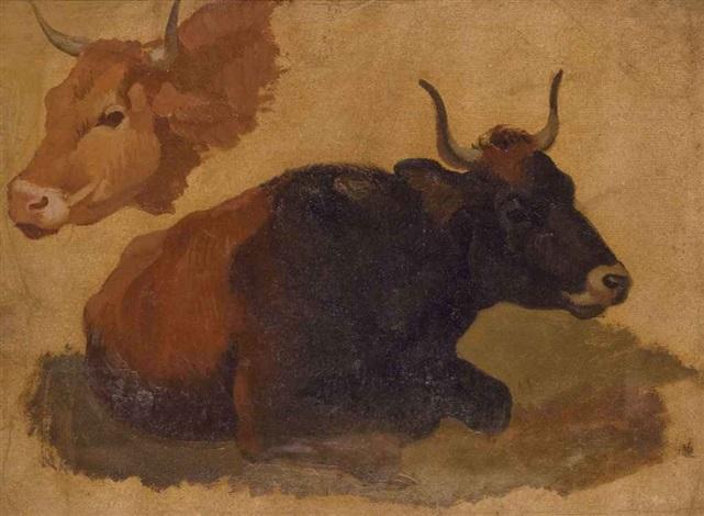vaches study ciel study verso by francesco londonio