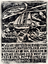 sailing (exhibition announcement) by william zorach