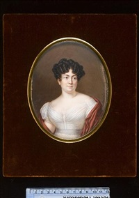 madame auguste lacoste, née marie-louise eugenie lemonnier delafosse, wearing white dress, lace white underslip, grey waistband, red robe around her shoulders by jean françois strasbeaux