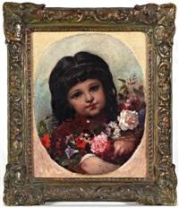 jeune fille au bouquet de fleurs by pierre louis de coninck