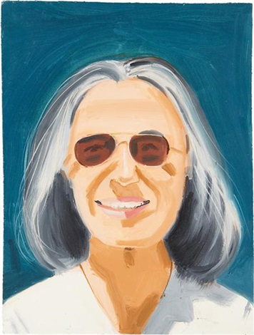 portrait of a woman with sunglasses by alex katz