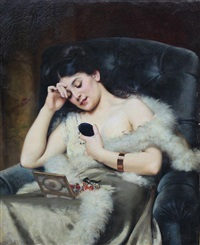 jeune femme à son coffret de bijoux by victor tortez
