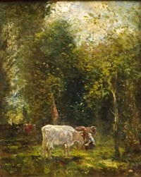 cattle in a sunlit glade by willem maris
