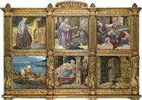 szenen aus der rheinischen sage über bischof batto von mainz (6 works in 1 frame) by josef huber