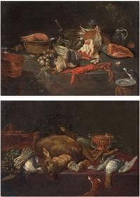 natura morta con crostacei e verdure; natura morta con cacciagione e verdure (pair) by alexander adriaenssen the elder
