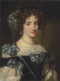 portrait of maria virginia borghese chigi (1642-1718), half-length, in a black dress with a lace collar and blue ribbons by jakob ferdinand voet